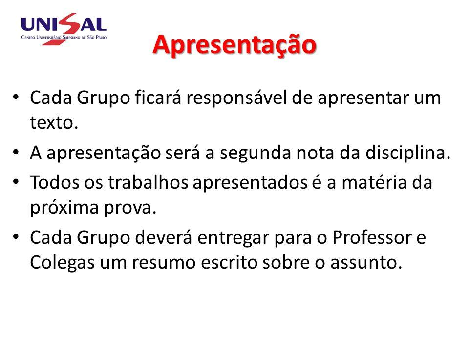 Apresentação Cada Grupo ficará responsável de apresentar um texto. A apresentação será a segunda nota da disciplina. Todos os trabalhos apresentados é