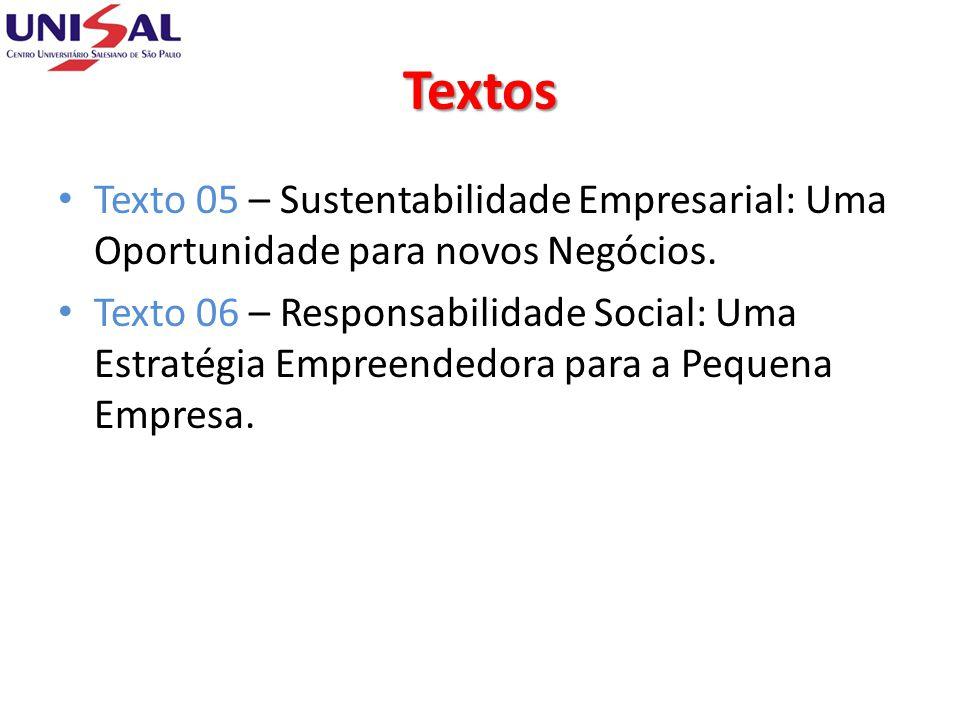 Textos Texto 05 – Sustentabilidade Empresarial: Uma Oportunidade para novos Negócios. Texto 06 – Responsabilidade Social: Uma Estratégia Empreendedora