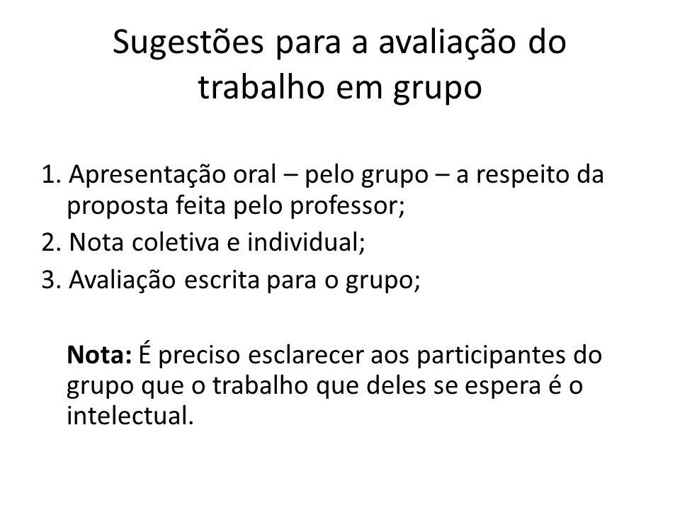 Sugestões para a avaliação do trabalho em grupo 1. Apresentação oral – pelo grupo – a respeito da proposta feita pelo professor; 2. Nota coletiva e in