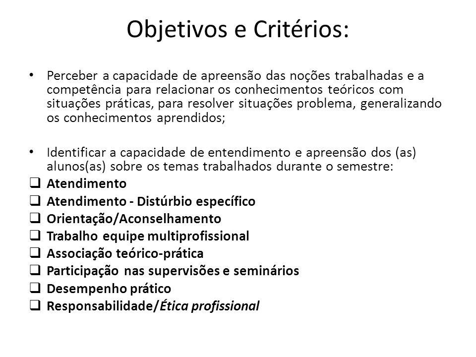 Objetivos e Critérios: Perceber a capacidade de apreensão das noções trabalhadas e a competência para relacionar os conhecimentos teóricos com situaçõ