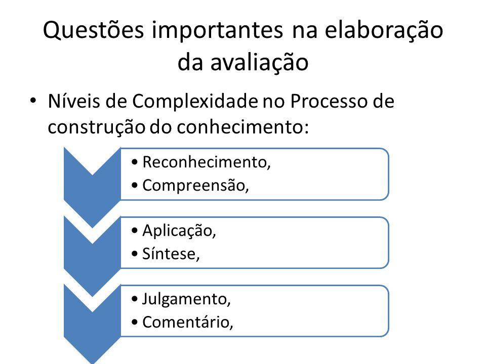 Questões importantes na elaboração da avaliação Níveis de Complexidade no Processo de construção do conhecimento: Reconhecimento, Compreensão, Aplicaç