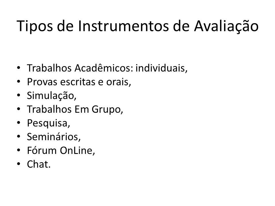 Tipos de Instrumentos de Avaliação Trabalhos Acadêmicos: individuais, Provas escritas e orais, Simulação, Trabalhos Em Grupo, Pesquisa, Seminários, Fó
