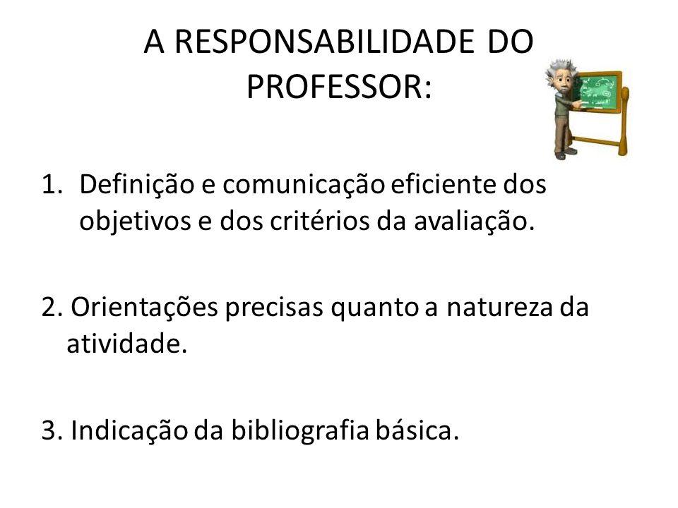 A RESPONSABILIDADE DO PROFESSOR: 1.Definição e comunicação eficiente dos objetivos e dos critérios da avaliação. 2. Orientações precisas quanto a natu