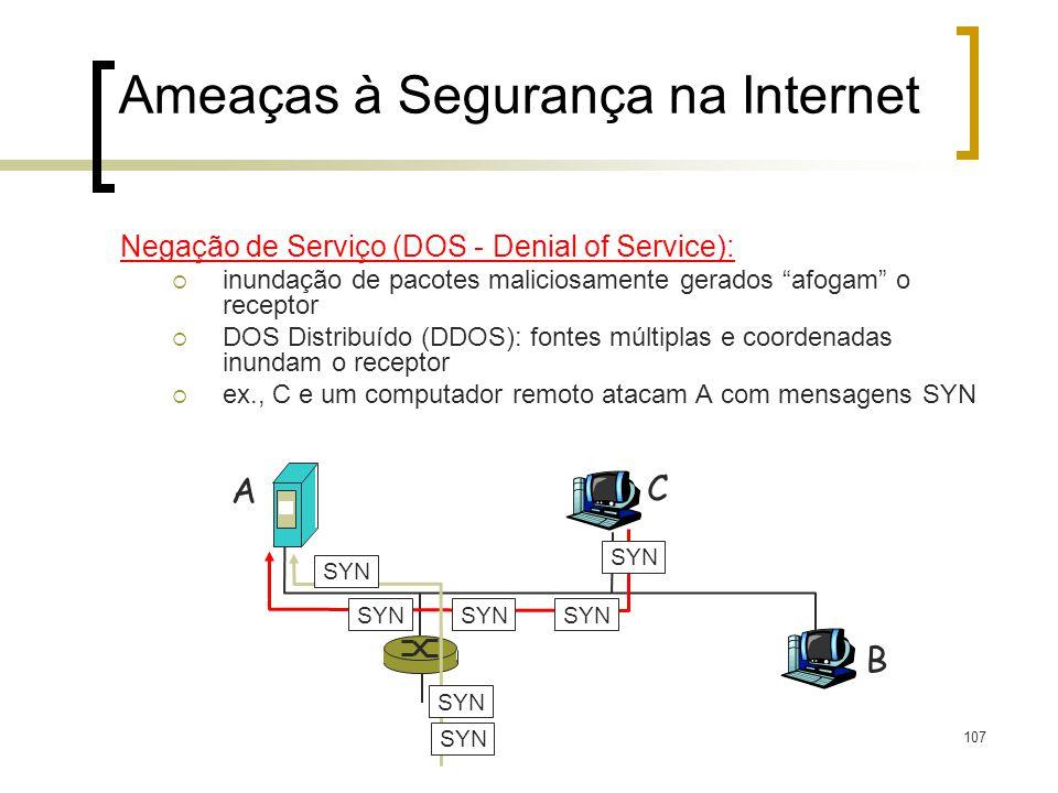 107 Ameaças à Segurança na Internet Negação de Serviço (DOS - Denial of Service): inundação de pacotes maliciosamente gerados afogam o receptor DOS Di