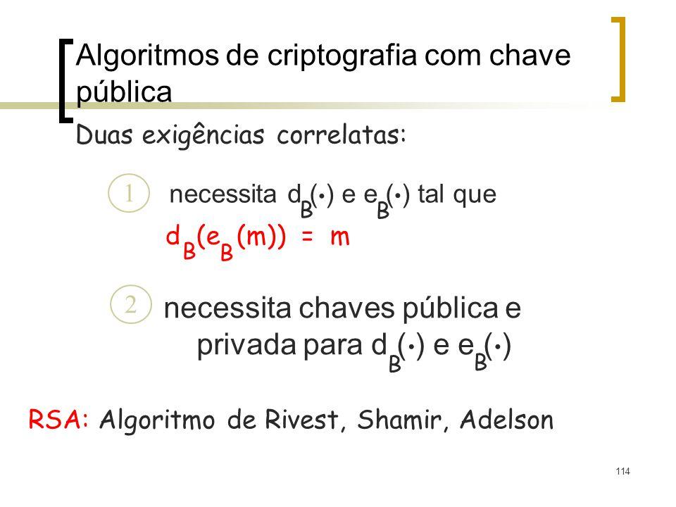 114 Algoritmos de criptografia com chave pública necessita d ( ) e e ( ) tal que d (e (m)) = m B B B B.. necessita chaves pública e privada para d ( )