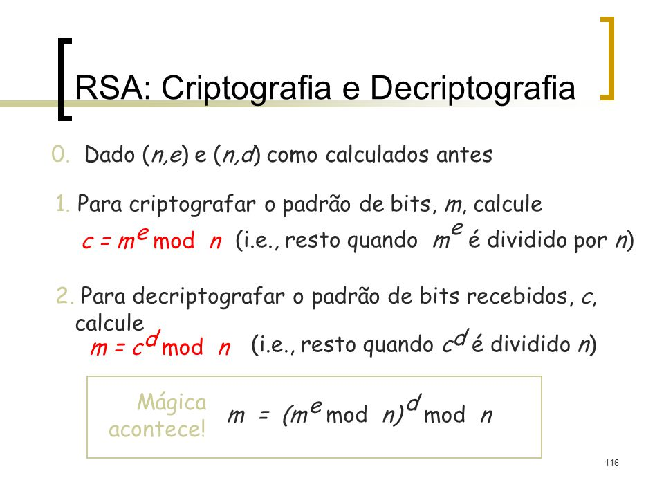 116 RSA: Criptografia e Decriptografia 0.Dado (n,e) e (n,d) como calculados antes 1.