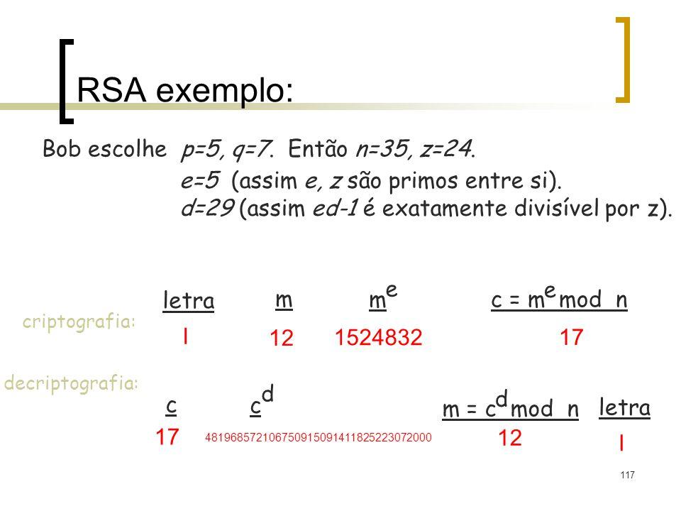 117 RSA exemplo: Bob escolhe p=5, q=7. Então n=35, z=24. e=5 (assim e, z são primos entre si). d=29 (assim ed-1 é exatamente divisível por z). letra m