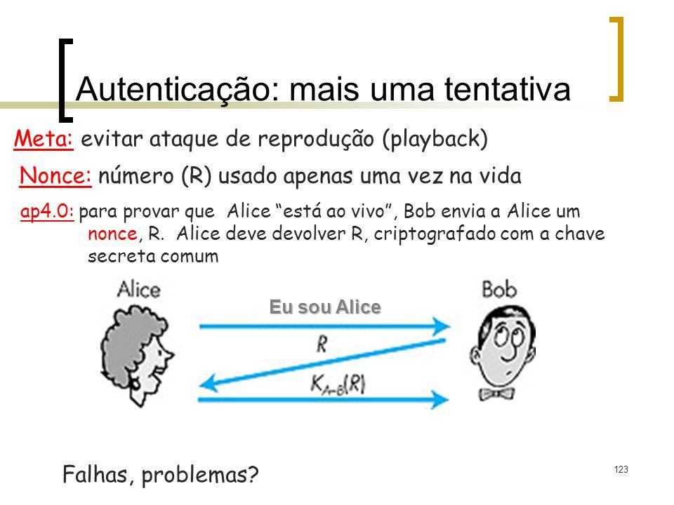 123 Autenticação: mais uma tentativa Meta: evitar ataque de reprodução (playback) Falhas, problemas? Figure 7.11 goes here Nonce: número (R) usado ape