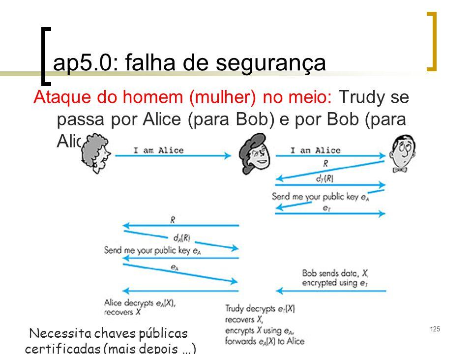 125 Figure 7.14 goes here ap5.0: falha de segurança Ataque do homem (mulher) no meio: Trudy se passa por Alice (para Bob) e por Bob (para Alice) Necessita chaves públicas certificadas (mais depois …)