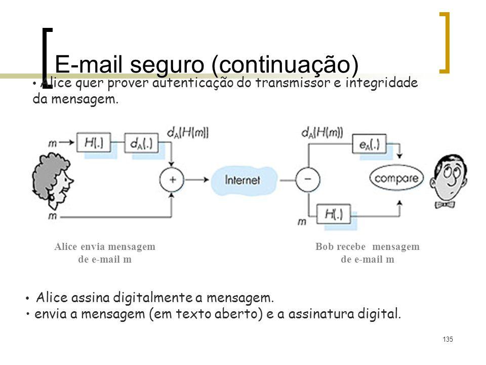 135 E-mail seguro (continuação) Alice quer prover autenticação do transmissor e integridade da mensagem. Alice assina digitalmente a mensagem. envia a