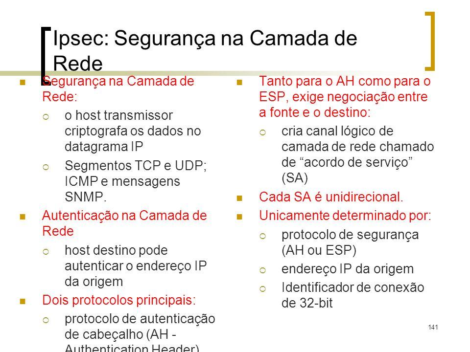 141 Ipsec: Segurança na Camada de Rede Segurança na Camada de Rede: o host transmissor criptografa os dados no datagrama IP Segmentos TCP e UDP; ICMP