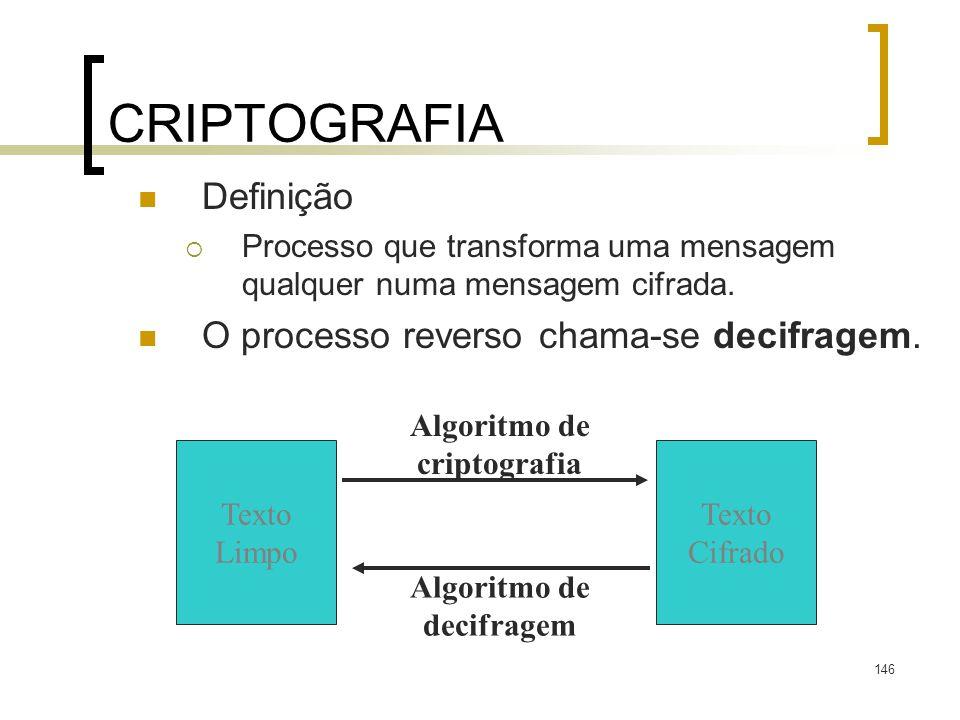 146 CRIPTOGRAFIA Definição Processo que transforma uma mensagem qualquer numa mensagem cifrada. O processo reverso chama-se decifragem. Texto Limpo Te