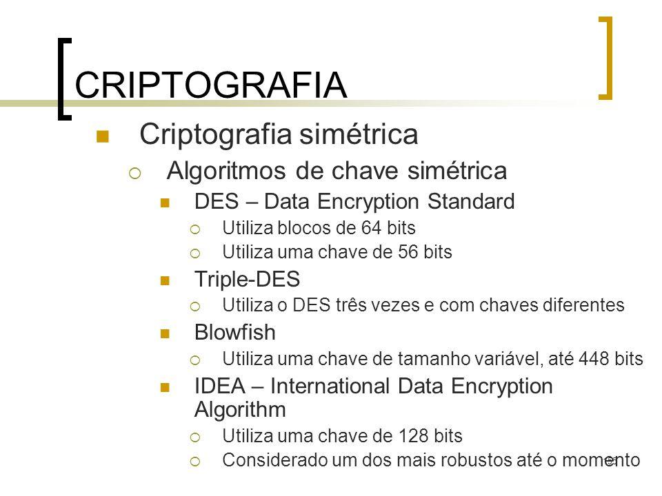 155 CRIPTOGRAFIA Criptografia simétrica Algoritmos de chave simétrica DES – Data Encryption Standard Utiliza blocos de 64 bits Utiliza uma chave de 56 bits Triple-DES Utiliza o DES três vezes e com chaves diferentes Blowfish Utiliza uma chave de tamanho variável, até 448 bits IDEA – International Data Encryption Algorithm Utiliza uma chave de 128 bits Considerado um dos mais robustos até o momento