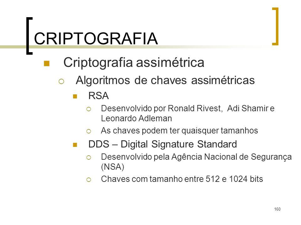 160 CRIPTOGRAFIA Criptografia assimétrica Algoritmos de chaves assimétricas RSA Desenvolvido por Ronald Rivest, Adi Shamir e Leonardo Adleman As chave