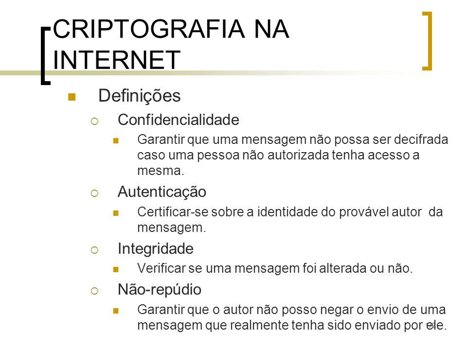 172 CRIPTOGRAFIA NA INTERNET Definições Confidencialidade Garantir que uma mensagem não possa ser decifrada caso uma pessoa não autorizada tenha acesso a mesma.