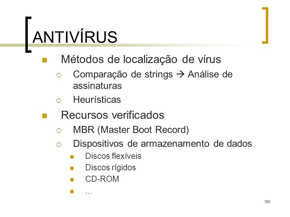 180 ANTIVÍRUS Métodos de localização de vírus Comparação de strings Análise de assinaturas Heurísticas Recursos verificados MBR (Master Boot Record) Dispositivos de armazenamento de dados Discos flexíveis Discos rígidos CD-ROM...