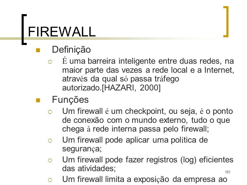 183 FIREWALL Definição É uma barreira inteligente entre duas redes, na maior parte das vezes a rede local e a Internet, atrav é s da qual s ó passa tr á fego autorizado.[HAZARI, 2000] Funções Um firewall é um checkpoint, ou seja, é o ponto de conexão com o mundo externo, tudo o que chega à rede interna passa pelo firewall; Um firewall pode aplicar uma pol í tica de seguran ç a; Um firewall pode fazer registros (log) eficientes das atividades; Um firewall limita a exposi ç ão da empresa ao mundo externo.