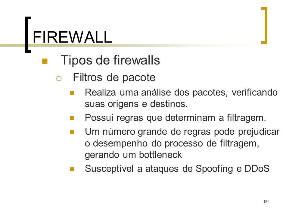 185 FIREWALL Tipos de firewalls Filtros de pacote Realiza uma análise dos pacotes, verificando suas origens e destinos. Possui regras que determinam a