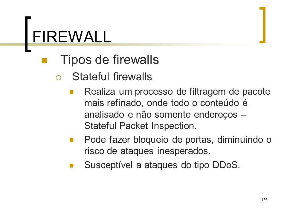 186 FIREWALL Tipos de firewalls Stateful firewalls Realiza um processo de filtragem de pacote mais refinado, onde todo o conteúdo é analisado e não somente endereços – Stateful Packet Inspection.