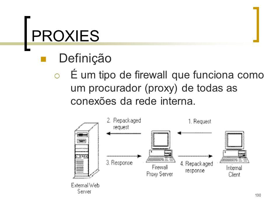 190 PROXIES Definição É um tipo de firewall que funciona como um procurador (proxy) de todas as conexões da rede interna.