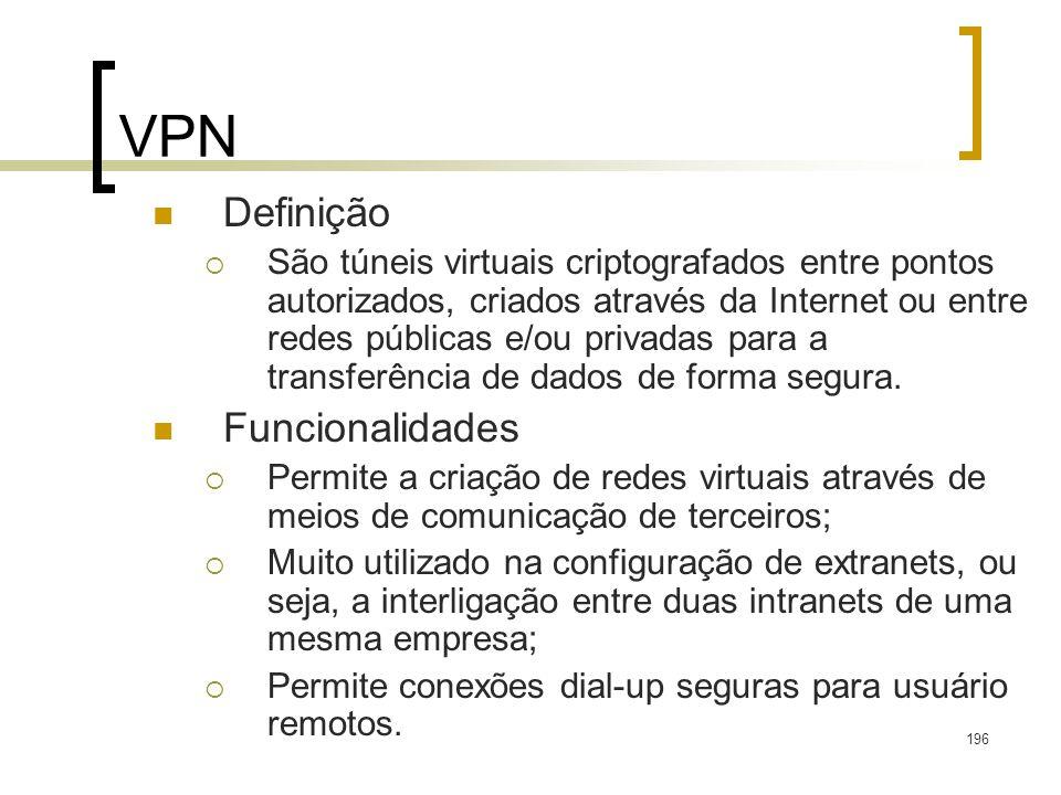 196 VPN Definição São túneis virtuais criptografados entre pontos autorizados, criados através da Internet ou entre redes públicas e/ou privadas para