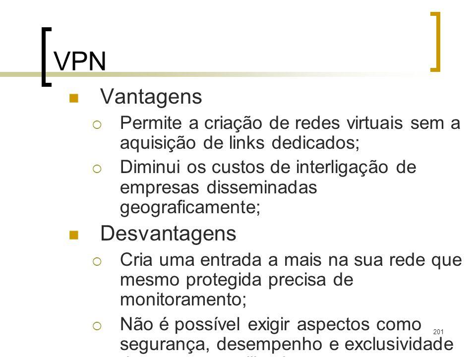 201 VPN Vantagens Permite a criação de redes virtuais sem a aquisição de links dedicados; Diminui os custos de interligação de empresas disseminadas g