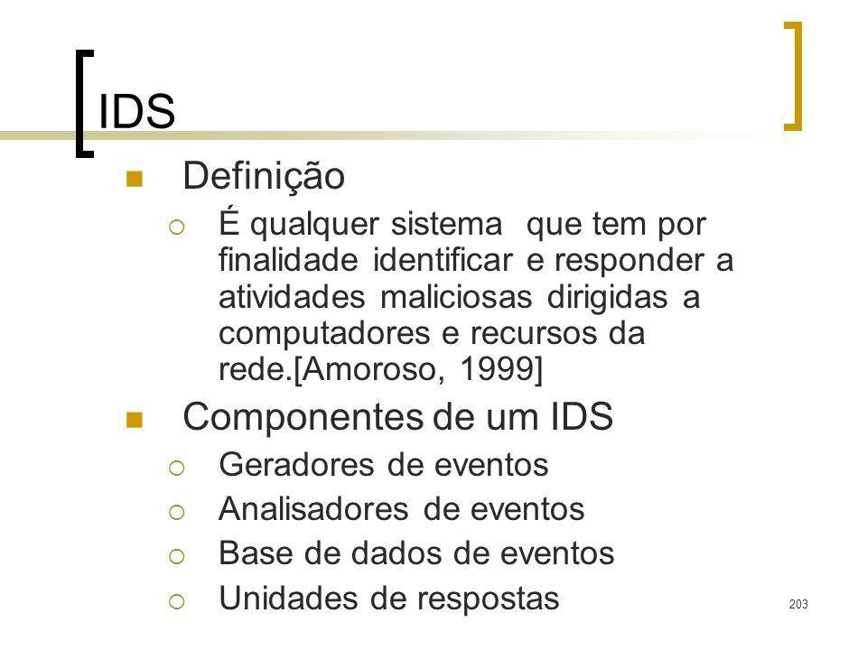 203 IDS Definição É qualquer sistema que tem por finalidade identificar e responder a atividades maliciosas dirigidas a computadores e recursos da red