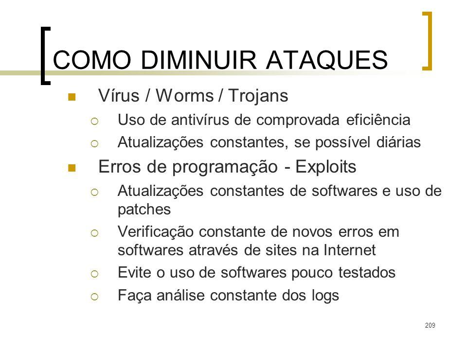 209 COMO DIMINUIR ATAQUES Vírus / Worms / Trojans Uso de antivírus de comprovada eficiência Atualizações constantes, se possível diárias Erros de prog