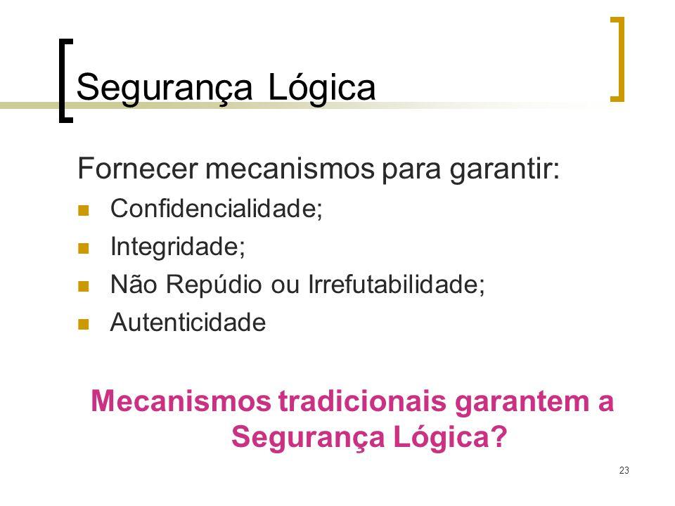23 Segurança Lógica Fornecer mecanismos para garantir: Confidencialidade; Integridade; Não Repúdio ou Irrefutabilidade; Autenticidade Mecanismos tradi