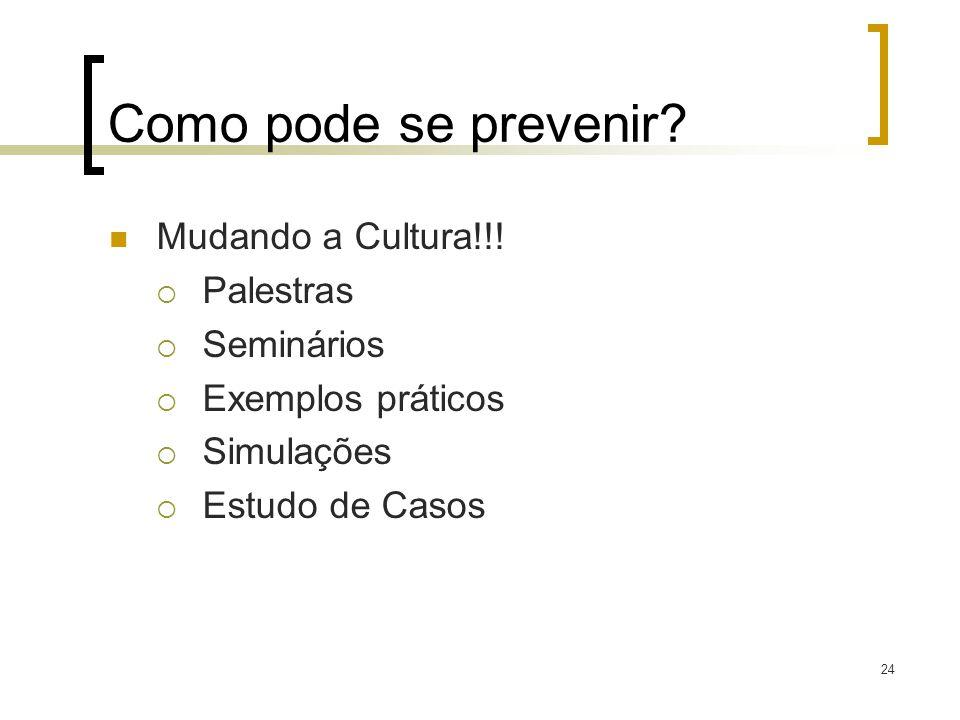 24 Como pode se prevenir? Mudando a Cultura!!! Palestras Seminários Exemplos práticos Simulações Estudo de Casos