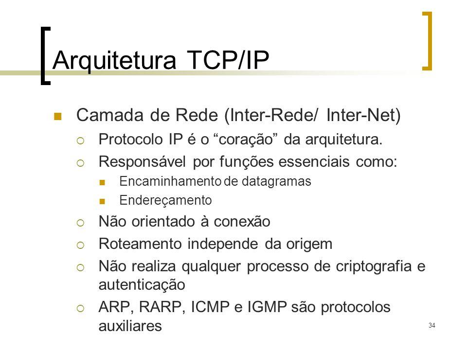 34 Arquitetura TCP/IP Camada de Rede (Inter-Rede/ Inter-Net) Protocolo IP é o coração da arquitetura. Responsável por funções essenciais como: Encamin