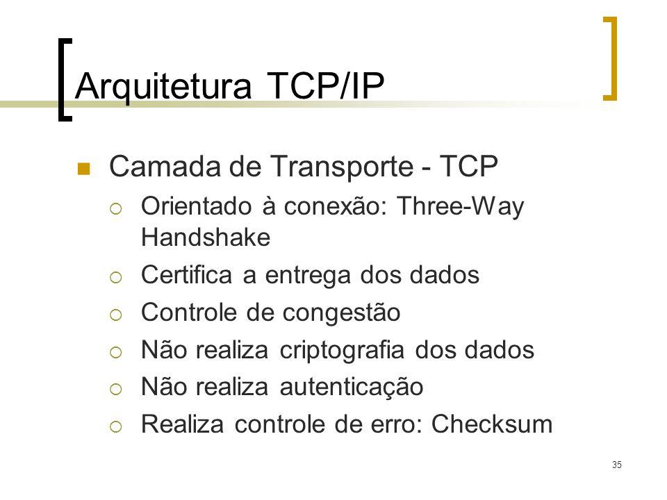 35 Arquitetura TCP/IP Camada de Transporte - TCP Orientado à conexão: Three-Way Handshake Certifica a entrega dos dados Controle de congestão Não realiza criptografia dos dados Não realiza autenticação Realiza controle de erro: Checksum