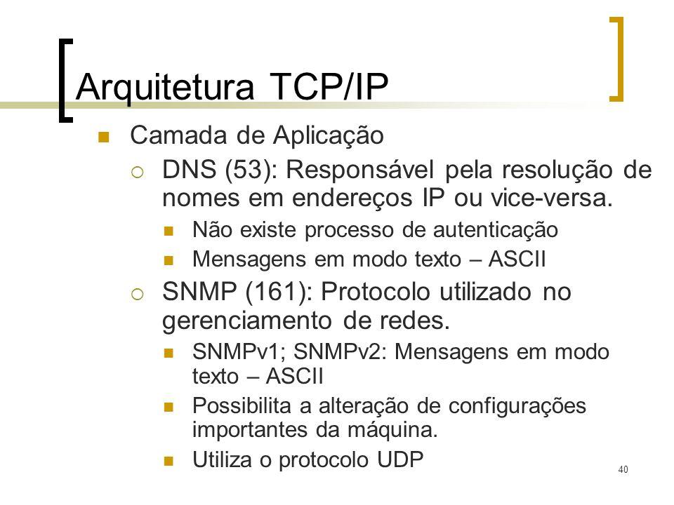 40 Arquitetura TCP/IP Camada de Aplicação DNS (53): Responsável pela resolução de nomes em endereços IP ou vice-versa. Não existe processo de autentic