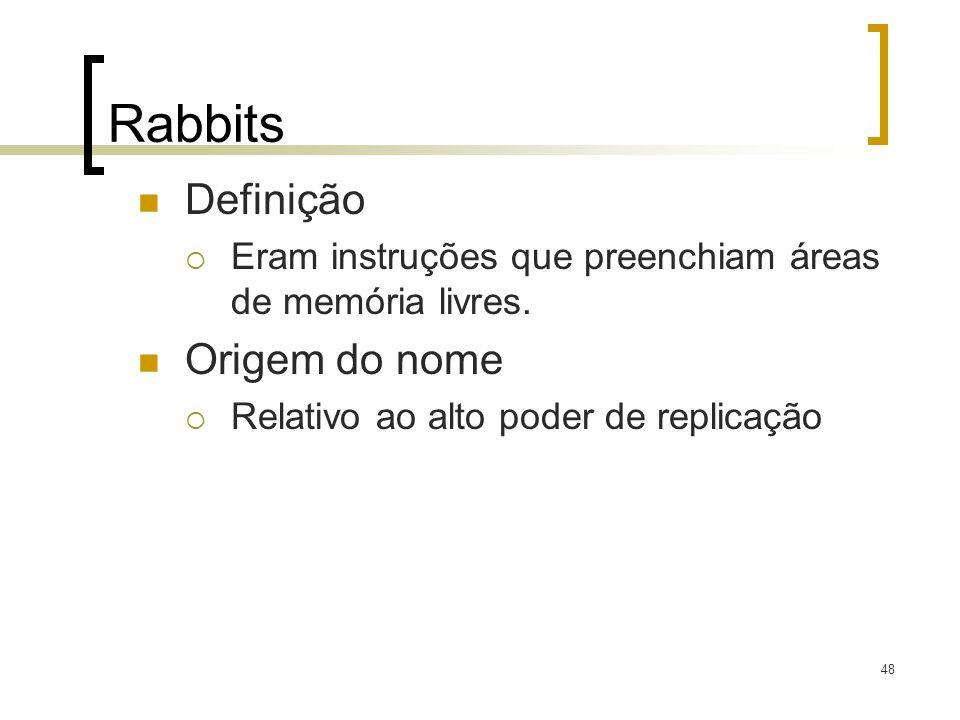 48 Rabbits Definição Eram instruções que preenchiam áreas de memória livres. Origem do nome Relativo ao alto poder de replicação