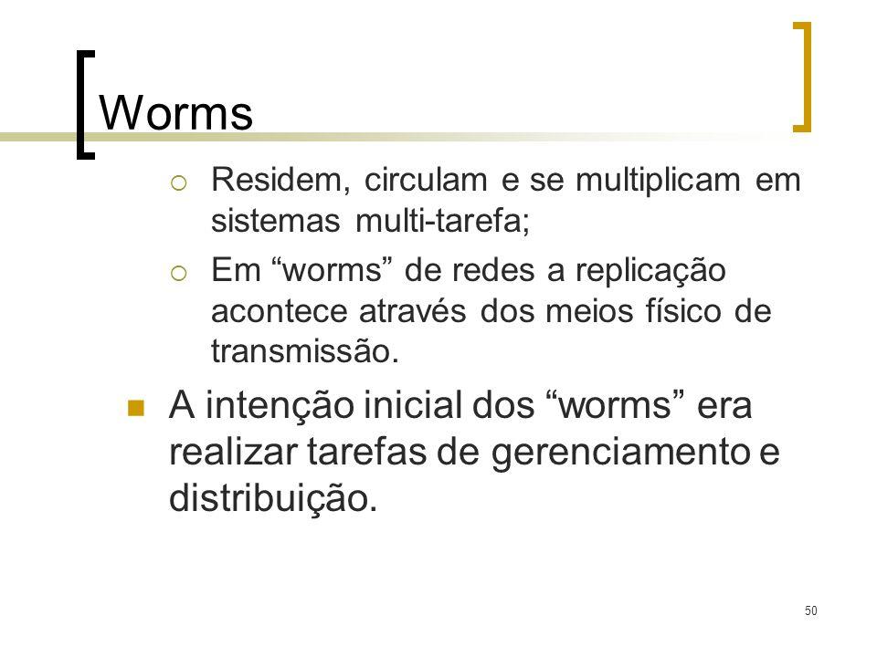 50 Worms Residem, circulam e se multiplicam em sistemas multi-tarefa; Em worms de redes a replicação acontece através dos meios físico de transmissão.