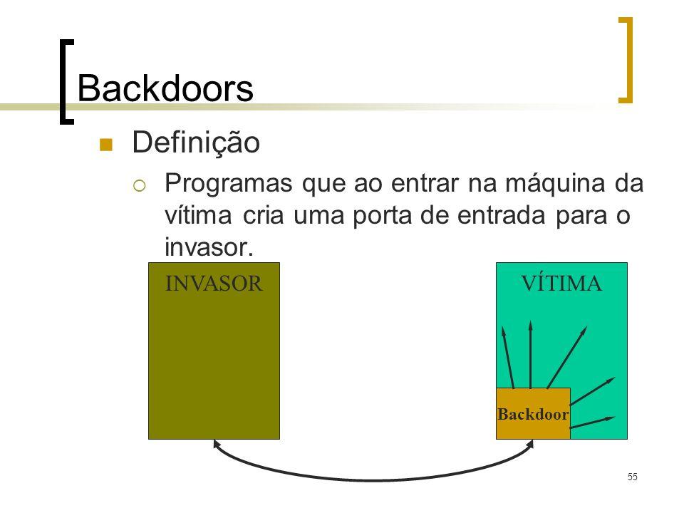 55 Backdoors Definição Programas que ao entrar na máquina da vítima cria uma porta de entrada para o invasor. VÍTIMAINVASOR Backdoor