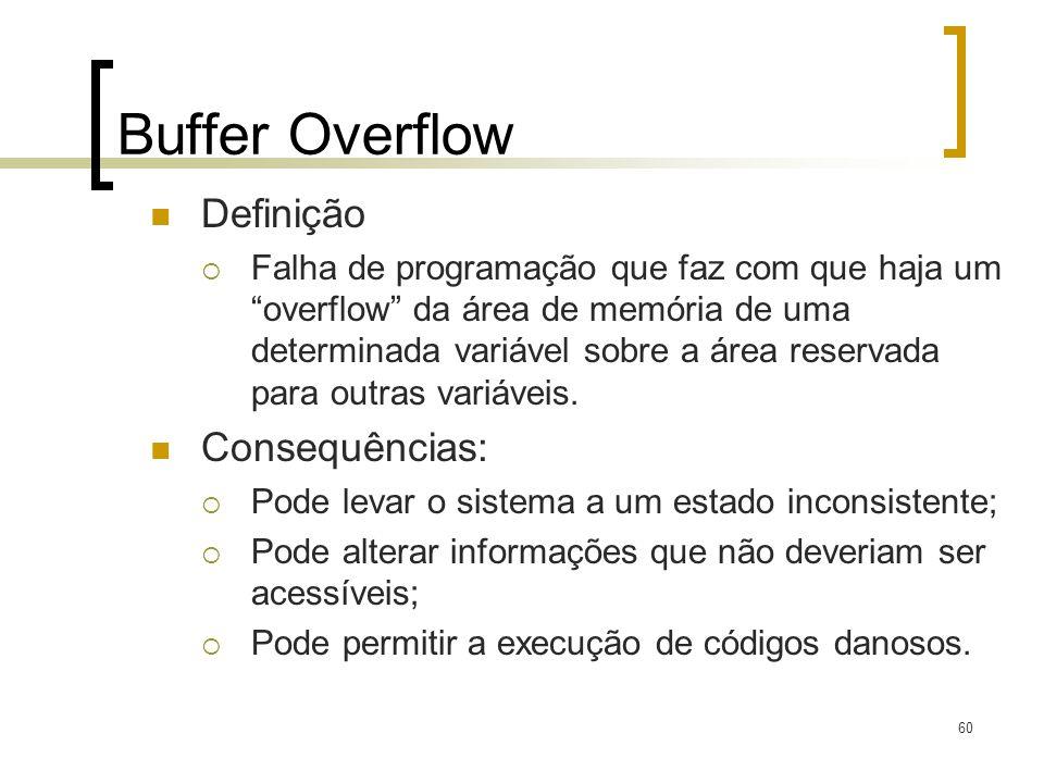 60 Buffer Overflow Definição Falha de programação que faz com que haja umoverflow da área de memória de uma determinada variável sobre a área reservada para outras variáveis.
