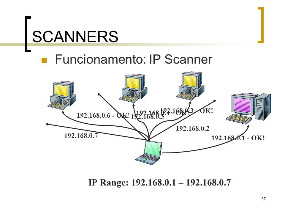 67 SCANNERS Funcionamento: IP Scanner IP Range: 192.168.0.1 – 192.168.0.7 192.168.0.1 - OK! 192.168.0.3 - OK! 192.168.0.6 - OK! 192.168.0.4 - OK! 192.