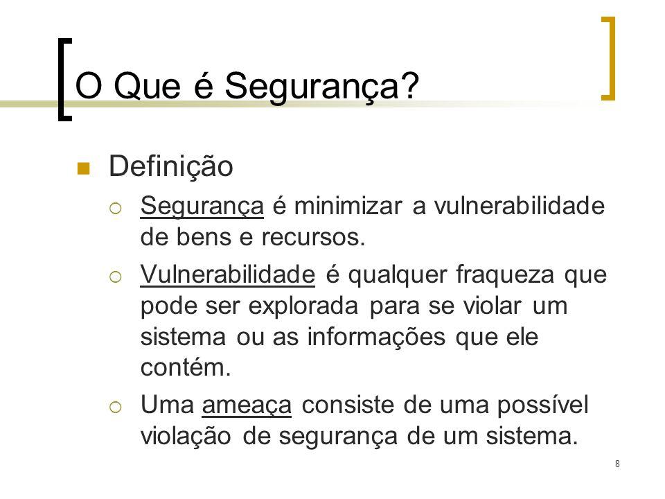 8 O Que é Segurança? Definição Segurança é minimizar a vulnerabilidade de bens e recursos. Vulnerabilidade é qualquer fraqueza que pode ser explorada