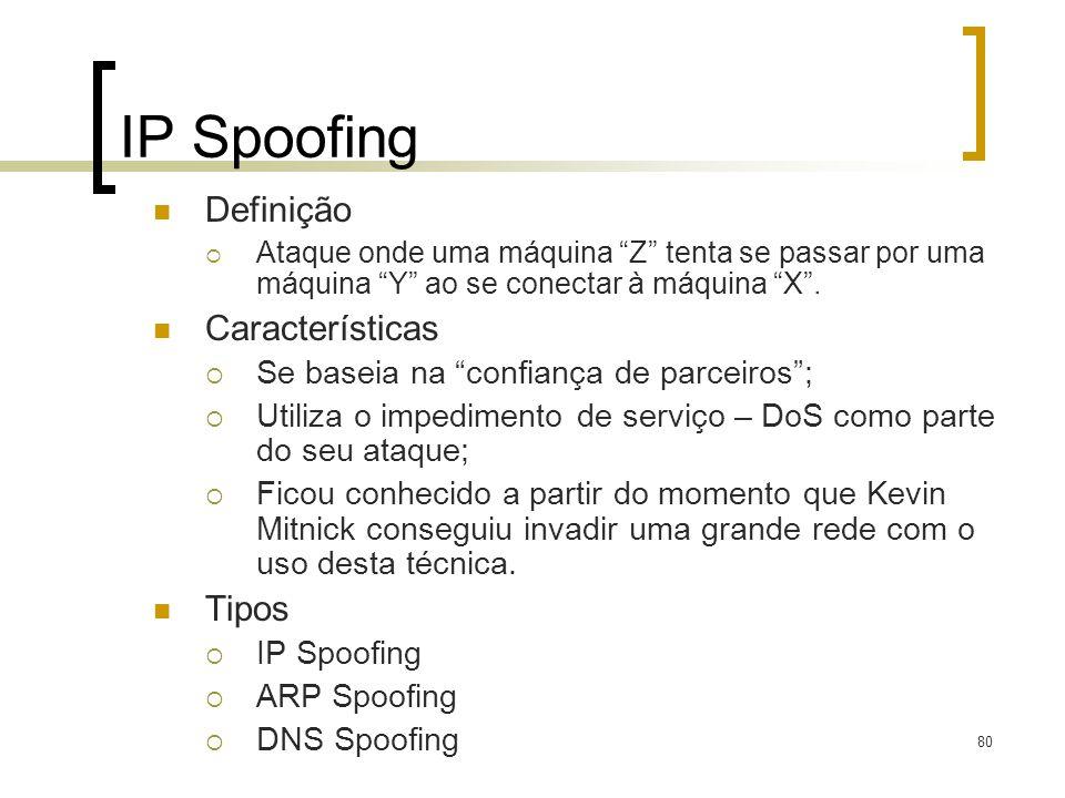 80 IP Spoofing Definição Ataque onde uma máquina Z tenta se passar por uma máquina Y ao se conectar à máquina X.