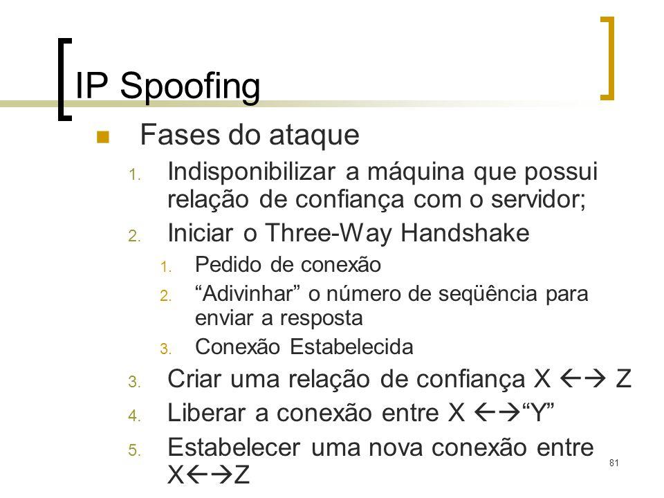81 IP Spoofing Fases do ataque 1. Indisponibilizar a máquina que possui relação de confiança com o servidor; 2. Iniciar o Three-Way Handshake 1. Pedid