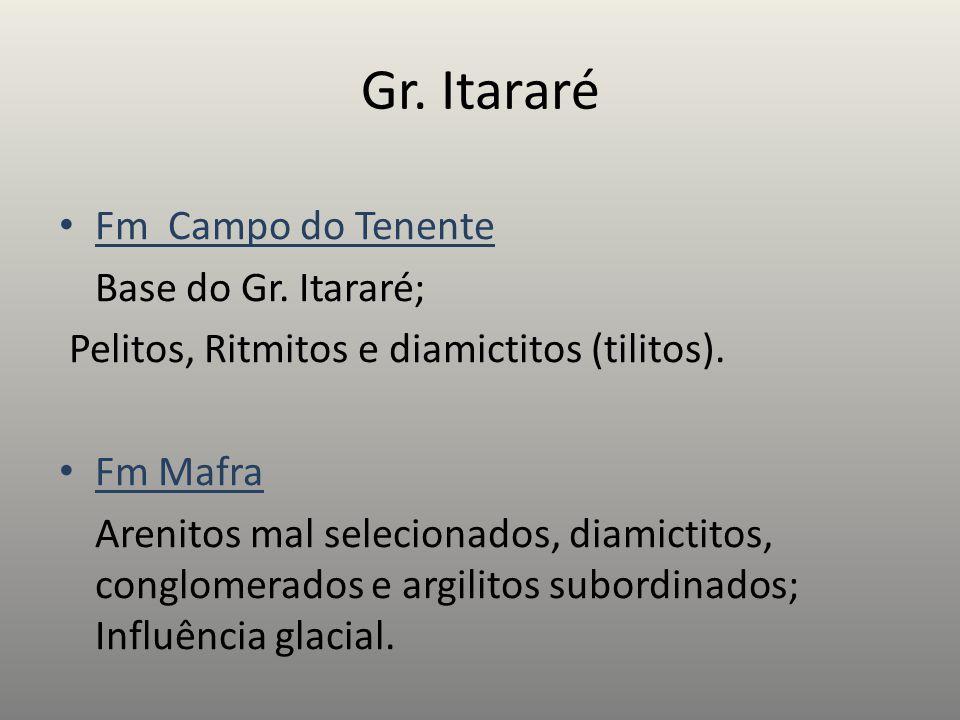 Fm Campo do Tenente Base do Gr. Itararé; Pelitos, Ritmitos e diamictitos (tilitos). Fm Mafra Arenitos mal selecionados, diamictitos, conglomerados e a
