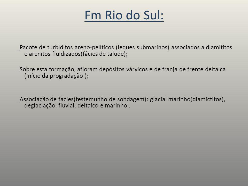 Fm Rio do Sul: _Pacote de turbiditos areno-pelíticos (leques submarinos) associados a diamititos e arenitos fluidizados(fácies de talude); _Sobre esta