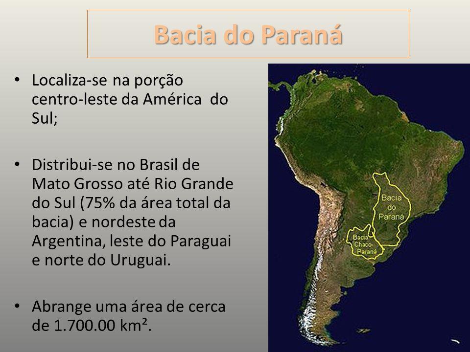 BaciadoParaná Bacia do Paraná Localiza-se na porção centro-leste da América do Sul; Distribui-se no Brasil de Mato Grosso até Rio Grande do Sul (75% d