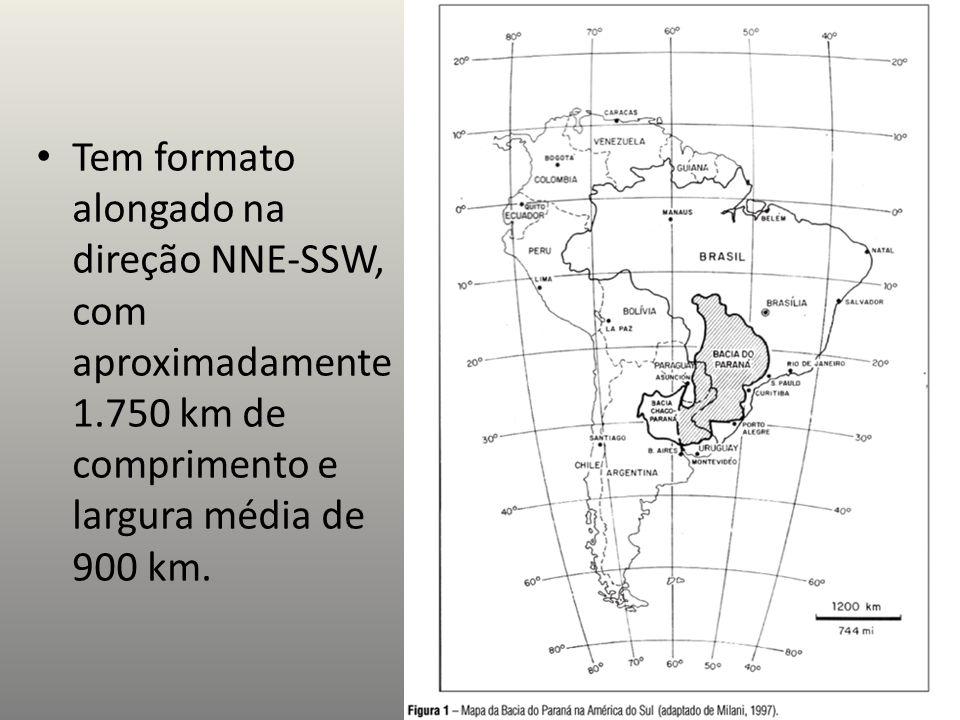 Tem formato alongado na direção NNE-SSW, com aproximadamente 1.750 km de comprimento e largura média de 900 km.