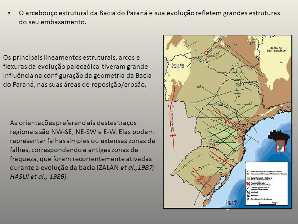 O arcabouço estrutural da Bacia do Paraná e sua evolução refletem grandes estruturas do seu embasamento. Os principais lineamentos estruturais, arcos
