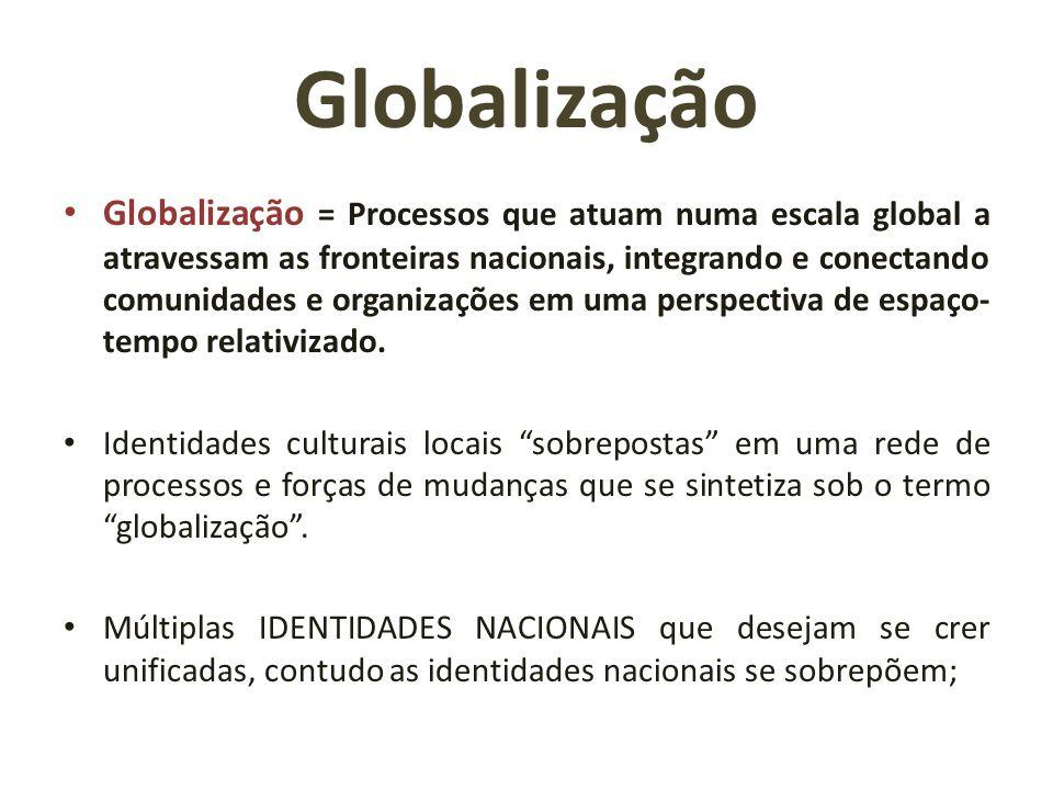 Globalização Globalização = Processos que atuam numa escala global a atravessam as fronteiras nacionais, integrando e conectando comunidades e organiz