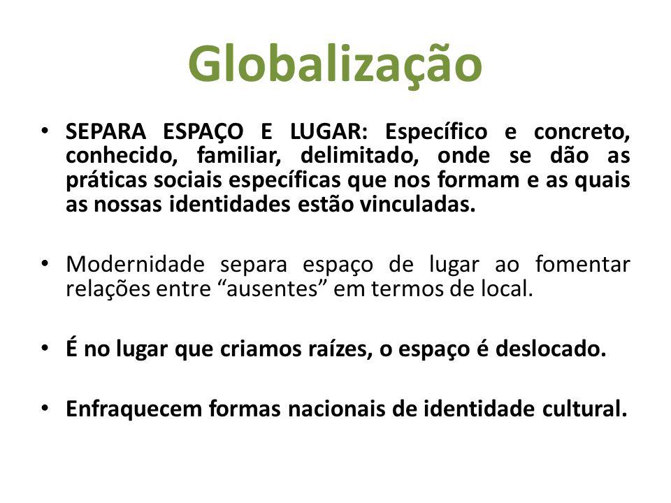 Globalização Contudo as identidades locais, regionais e comunitárias tornado mais importantes apontam tendência em direção a interdependência global – colapsando as identidades fortes e produzindo fragmentação com ênfase no efêmero e impermanente.
