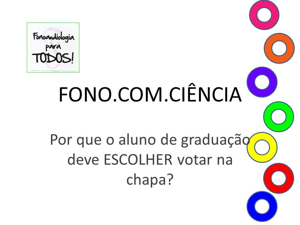 FONO.COM.CIÊNCIA Por que o aluno de graduação deve ESCOLHER votar na chapa?