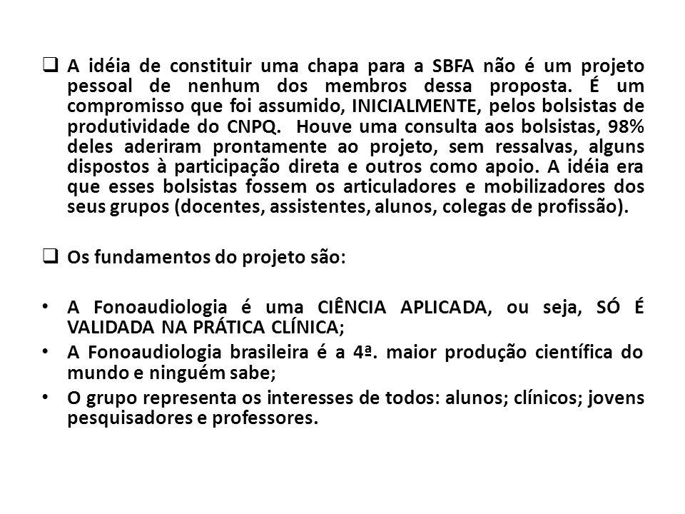 A idéia de constituir uma chapa para a SBFA não é um projeto pessoal de nenhum dos membros dessa proposta. É um compromisso que foi assumido, INICIALM